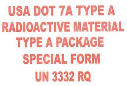 """Label: Type """"A"""" DOT 7A with RQ 102109.3000"""